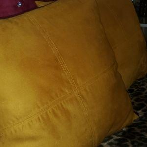 Large Soft mustard yellow decorative pillow / toss
